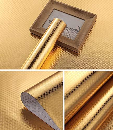 Hode Golden Ölbeständige Folie Selbstklebend Hitzebeständige Küchenfolie Aluminium Klebefolie für Arbeitsplatte Küchenwand Küchenschrank 40X300cm