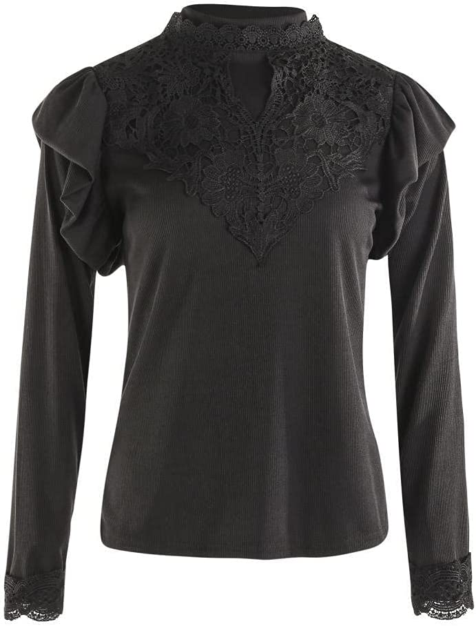 HSHUIJP Sexy Tops for Women Fashion Lace Top Women Long Sleeve Crew Neck Slim Fit T Shirts Office Ladies Elegant Casual T Shirt Knitted Tops Women, s Vests (Color : Black, Size : XL)
