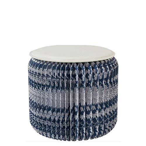 Chaises pliantes Organe créatif, Tabouret, Convient pour Les Occasions, fête, Balcon, Style Chinois Bleu, Fleur Bleue, Porcelaine Bleue et Blanche, Hauteur 42cm