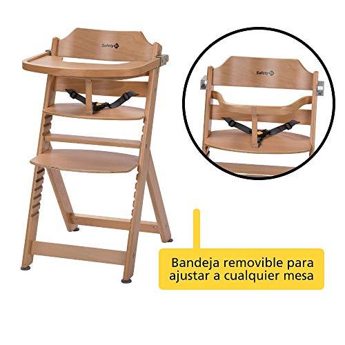 Safety 1st Timba Trona de madera con bandeja, Trona evolutiva para niños 6 meses - 10 años (30 kg), Regulable an altura,color Madera natural
