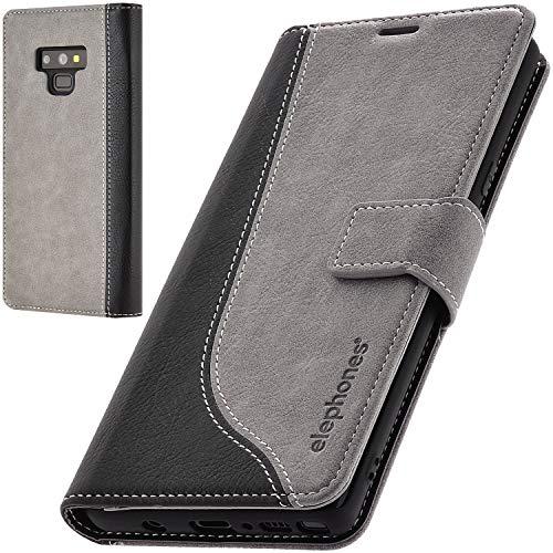 elephones Schutzhülle kompatibel mit Samsung Galaxy Note 9 Hülle Handyhülle Handy-Tasche Wallet Hülle Cover Grau