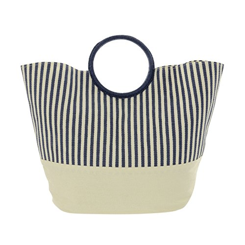Lazy Beach Bag Cream Navy Blue Stripe Paper Straw Rigid Handles Phone Pocket Magnetic Fastener