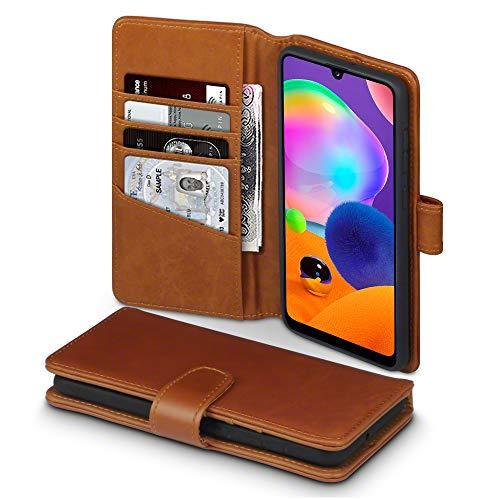 TERRAPIN Cover Samsung A31, Vera Pelle della Cassa del Raccoglitore con Funzione di Appoggio Posteriore per Samsung Galaxy A31 Custodia Pelle, Colore: Cognac