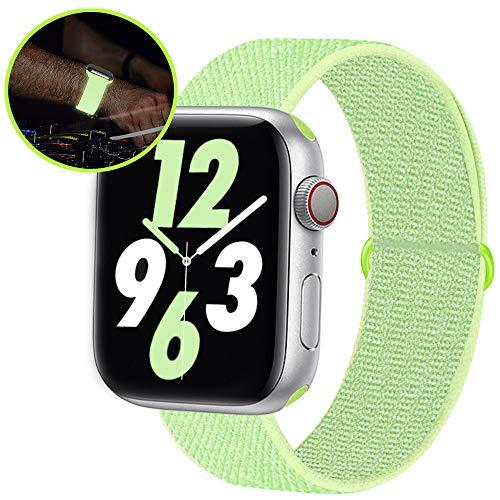 Qunbor Cinturino Compatibile con Apple Watch 38mm 40mm 42mm 44mm per iWatch Series 5 4 3 2 1 Edition, Sport Nylon Intrecciato Loop Tessuto Ricambio Flessibile Bagliore di Notte, Riflettente Giallo
