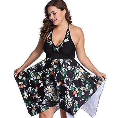 RAINED-Women's Plus SizeTankini Swing Skirt Sexy Split Swimsuit New Slim Halter Swimdress Deep V Neck Bathing Suit