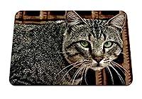 26cmx21cm マウスパッド (猫顔ストライプメッシュルック) パターンカスタムの マウスパッド