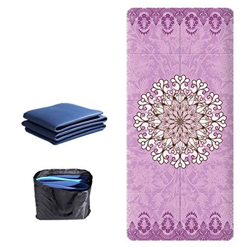 ZBK Esterilla de yoga plegable portátil de 5 mm de grosor de gamuza TPE impresa, alfombrilla de yoga antideslizante, 183 x 68 x 0,5 cm, 6 colores