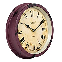 Distressed Red Paris 1863 Style 8 inch Round Analog Wall Clock