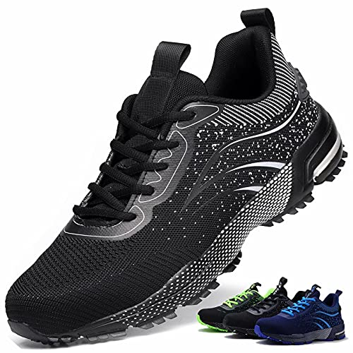 Zapatos de Seguridad S3 Hombre Mujer Calzado de Trabajo Comodo Ligeros con Punta de Acero Transpirable Anti-pinchazos Negro 37