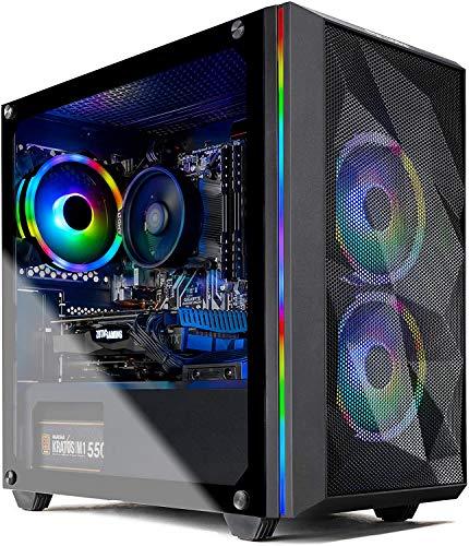 Skytech Chronos Mini Gaming PC Desktop - AMD Ryzen 3 3100, NVIDIA GTX 1650 4GB, 8GB DDR4, 500GB SSD, A320 Motherboard, 550 Watt Bronze, AC Wi-Fi, Windows 10 Home 64-bit