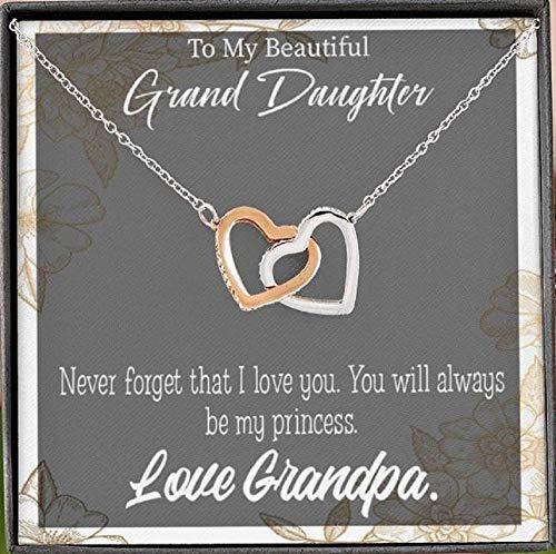 Express Your Love Gifts To My Granddaughter - Collar con colgante de princesa de abuelo (18 quilates, acabado en oro rosa de 16 pulgadas), regalo para nieta