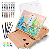 Falling in Art Beechwood Tabletop Easel Set with 12 Tubes Acrylic Paints, Canvas Panels, Brushes, Palette – 24 Pieces Artist Acrylic Painting Set Tools Kit