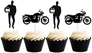 LaVenty Set of 24 Black Motorcycle Cupcake Toppers Scooter Cake Decoration Motorcycle Themed Cupcake Toppers for Man's or Boy's Birthday Party Decoration