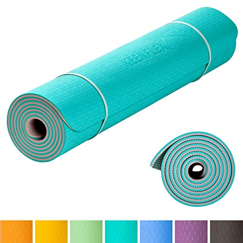 KeenFlex - Tapis de Yoga Premium, pour Pilate et Fitness, épais et confortable, Ecologique et recyclables (Orange & Dark Grey)
