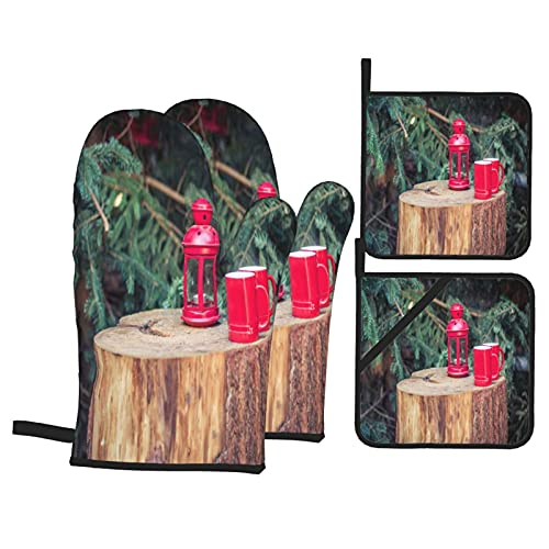 Presine e Guanti da Forno Set,Tronchi di abete rosso chiaro per decorazioni natalizie Guanti da Cucina Resistenti al Calore e Set di Presine da Cucina, per Cucinando Cottura Grigliare BBQ