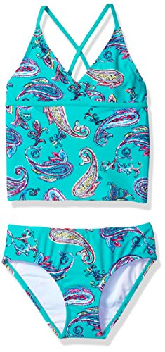 Kanu Surf Girls' Big Candy Beach Sport 2-Piece Tankini Swimsuit, Heather Green Paisley, 10