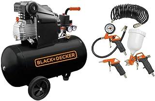 BLACK+DECKER Air Compressor With 50L Tank + 4 pcs Air Tools Kit - BD205/50 + KIT-4