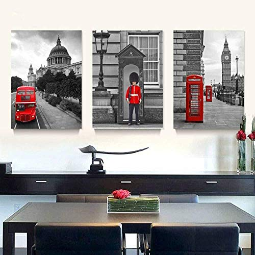 3-teiliges Wandbild auf Leinwandmotiv London City Wandbilder für Wohnzimmer rahmenlos 35 x 50 x 3