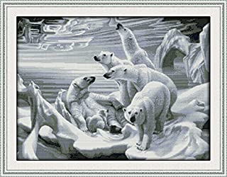 Joy Sunday Cross Stitch Kits 14CT Counted Polar Bear Homeland 25.2