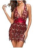 L'VOW Women's Glitter Sexy Deep V Neck Sequin Beaded Halter Bodycon Mini Nightclub Party Dress (S, Wine) (Apparel)
