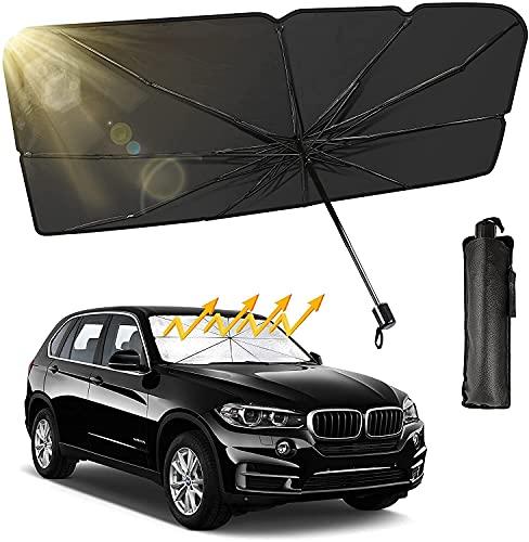 Auto Sonnenschutz,125X110X65 cm Auto Sonnenschirm,Auto Windschutzscheibe Sonnenschirm,Regenschirm Windschutzscheibe,UV-Block Auto Sonnenschutz,Faltbarer Frontscheib
