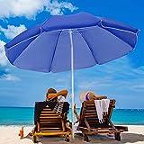 VOUA 6.5ft Beach Umbrella with Sand Anchor & Push Button Tilt Portable Patio Sunshade Umbrella Outdoor Umbrella with...