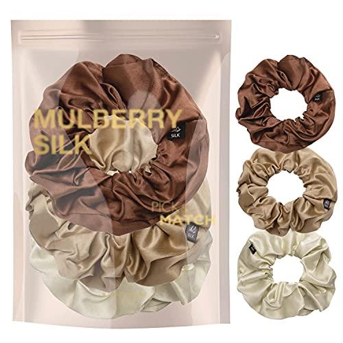 BasicSense - Coletero de seda pura para el pelo (3 unidades), color marrón