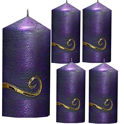 ilonas-lichtermeer Weihnachten Kerzen Set 4 Stück Stumpenkerzen Adventskerzen 100x50 Dekokerzen Kerzen für Adventskranz Tischkerzen lila mit Ornament Gold möglich IW16