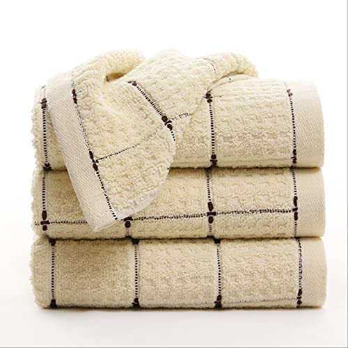 SONGWEOK Towel Adult Jacquard Small Square Lattice Plain Cotton Absorbent Towel 100g