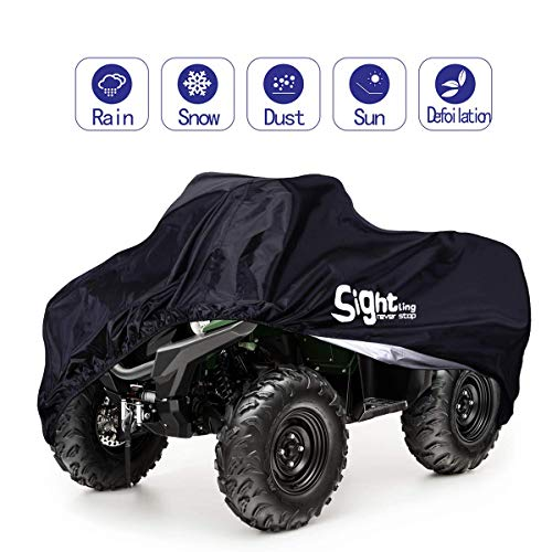 SIGHTLING 190T Waterproof ATV Cover,Large Heavy Duty Black Protects 4 Wheeler from Snow Rain or Sun,82.5'' x45'' x 47''