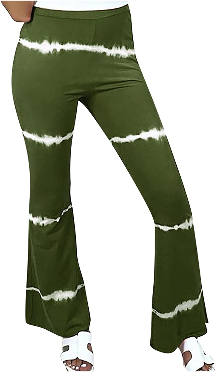 VonVonCo Flare Pants for Women Casual Elastic Girdle Waist Wide Leg Pants Trousers Stretch Printed Horn Green Small