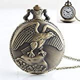 MDYH PTTCC Reloj de Bolsillo con Movimiento de Cuarzo Estilo halcón clásico AYSMG con Cadena de Cuello Colgante