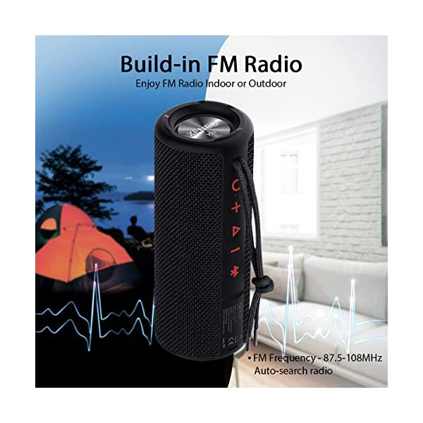 Portable Wireless Speaker Waterproof with TWS, FM Radio, Micro SD Card MP3 Player for Outdoor 6