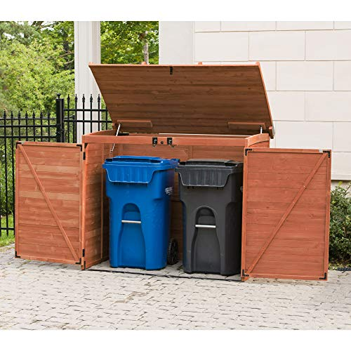 Large Horizontal Refuse Storage Shed - Brown - Wooden Refuse Cabinet for Trash Bins - Outdoor Tool and Garage Organizer – Weatherproof House and Garden Rubbish Enclosure Box