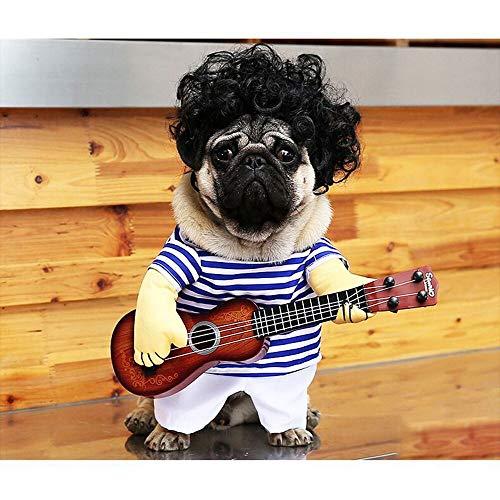 yacn Huisdier Kleding Grappige Zanger Puppy Kostuum Hond Kat Spelen Gitaar Fancy Kostuum Halloween Coslay Party Maat L Voor Hond Binnen 7,5 kg, M, Kleur: wit