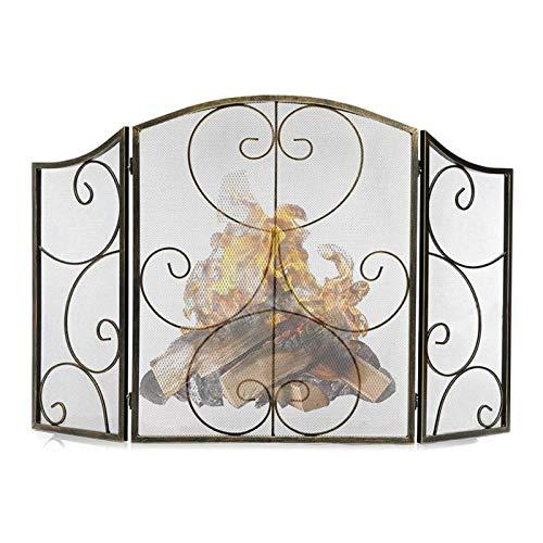 Pantallas de chimenea Pantalla de chimenea de trabajo pesado de 3 paneles con rayas decorativas en forma de rollo Cubierta de protección contra chispas, diseño retro Pantalla de chimenea de malla de h