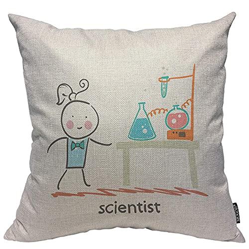 Almohada de Estampado, Almohada Pattern, Funda de cojín Throw Pillow para Cama sofá Sala de Estar Dormitorio,Científico y Tubos de ensayo Laboratorio Decorativo Vaso químico Vasos Química líquida