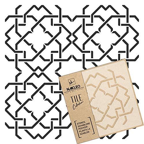 MAZERA Wiederverwendbare Kunststoff-Schablone Fliese / / Marokkanische Geometrische / / Boden Wand (30x30)