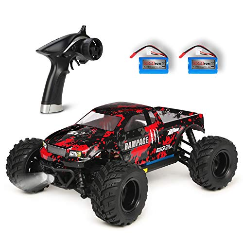 HBX 1:18 Scale All Terrain RC Car 36KM/H High Speed, 4WD Electric Vehicle,2.4 GHz Radio Controller, Included 2 Batteries and A Charger,Waterproof Off-Road Truck (Red)