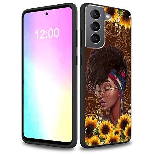 Rossy Funda para Samsung Galaxy S21 2021, suave gel de silicona líquida, forro de microfibra delgada, antiarañazos, a prueba de golpes, para Samsung S21/S30 6.4 pulgadas 2021, girasol con negr