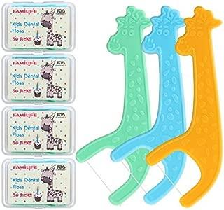 FAMILIFE Kid's Dental Floss Picks without Fluoride,4 Travel Handy Cases Unflavored Flosser 120 Picks
