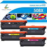 True Image Compatible Toner Cartridge Replacement for HP 508A 508X CF360X CF361X CF362X CF363X Color Laserjet Enterprise M553dn M577 M553X M553N M553 Printer Ink (Black Cyan Yellow Magenta, 4-Pack)