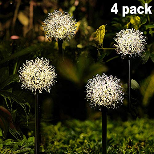 Solar Garden Light Outdoor, 4 Pack Warm White Solar Powered Decorative Stakes Night Lights with Dandelion Flower, LED Landscape Lighting for Garden/Yard/Lawn/Patio/Walkway/Driveway/Backyard