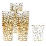 150 Vasos de Chupito Multi-Uso de Plástico Duro con Elegante Brillo Dorado, 1oz(30ml) - Resistente...