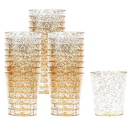 Matana 150 Bicchieri da Shot in Plastica Rigida, Bicchierini da Festa Trasparente con Glitter Dorati, 30ml - Resistente e Riutilizzabile.