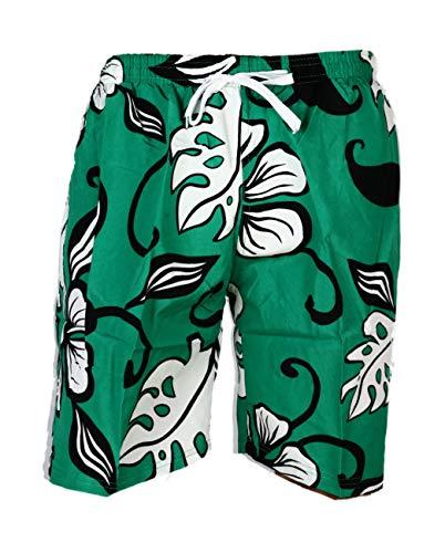 Unbekannt E&F D-6-03 Short de bain pour homme Motif fleurs et feuilles - Vert - XX-Large