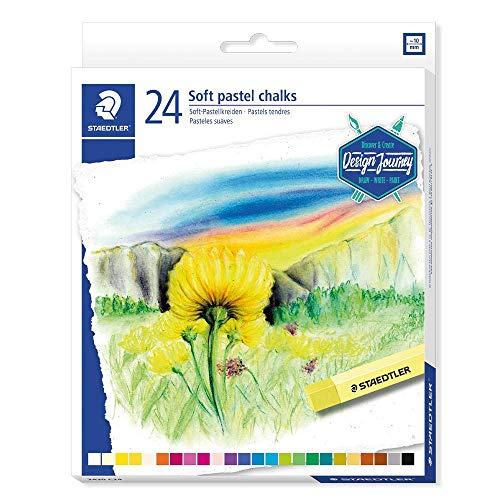 Staedtler Softpastellkreiden, hoher Grad an Lichtbeständigkeit, weicher Abstrich, leicht verwischbar, Kartonetui mit 24 brillanten Farben, 2430 C24