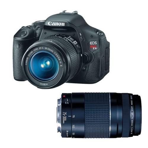 lens for canon rebels Canon EOS Rebel T3i Digital SLR Camera with 18-55mm and 75-300mm Lenses (discontinued by manufacturer)