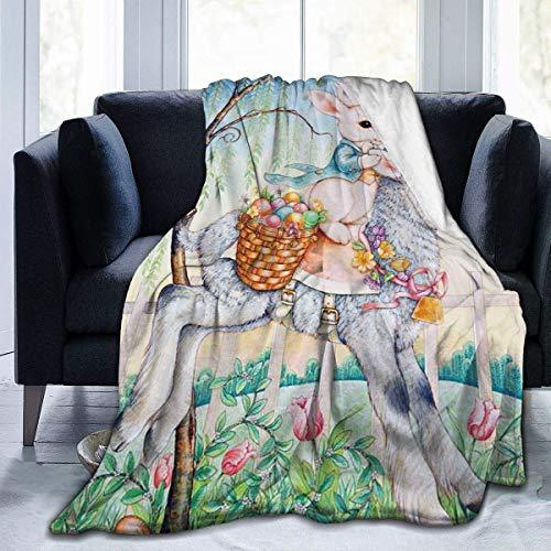 Tulip Bunny Lamb Full Fleece Throw Blanket Franela Fluffy Edredón Dormitorio Ropa de Cama Decoración Suave y Acogedor