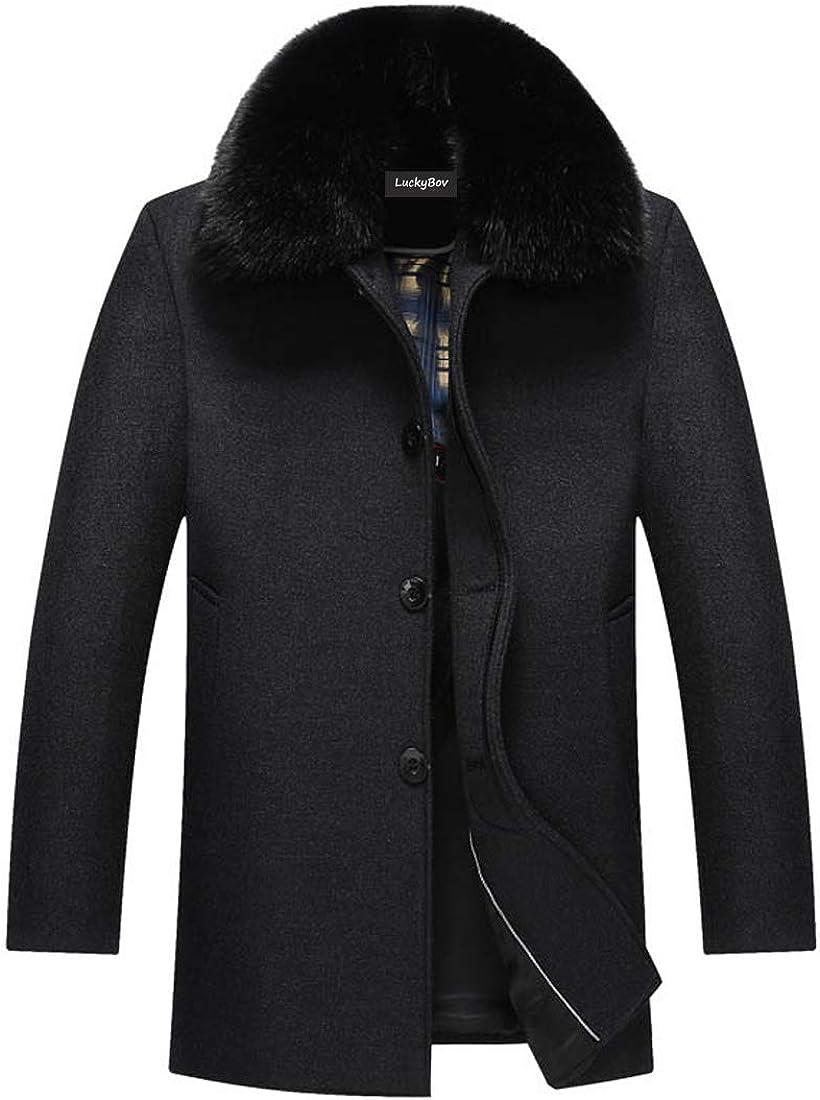 LuckyBov Men Fleece Lined Wool Blend Pea Coat Fur Collar Single Breasted Jacket